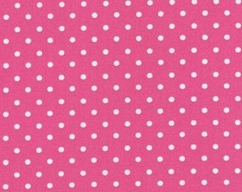Hot Pink Small Polka Dot Fabric One and One half  Yard Remnant Robert Kaufman