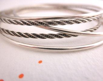 Set of 5 bangle bracelets  - twisted  bangles- 925 solid sterling silver - handmade sterling silver bangles - BB 16007