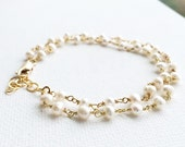 Double Strand Pearl Bracelet / Double Strand Bracelet /Pearl Bracelet / In Gold and Sterling Silver/ Wedding Jewelry/Bridal Party Gift
