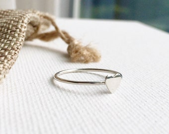 Heart Ring / Thin Heart Ring / Sterling Silver Dainty Heart Ring / Rustic Jewelry / Tiny Heart Ring / Stackable Heart Ring, Everyday Wear