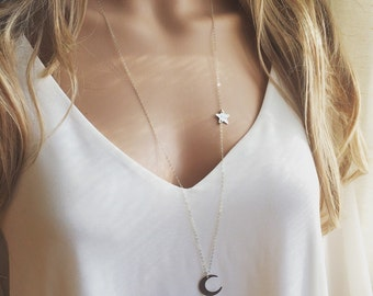 Crescent Moon and Star Initial Long Necklace, Long Necklace, Star Initial and Moon Necklace, Crescent Moon Necklace, Star and Moon Necklace