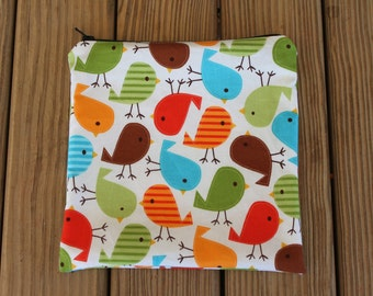 Reusable Sandwich Bag, Birds - Zipper Sandwich Bag
