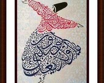 Semazen In Twinkle Fuchia Jacketrumi Hand Painted By Fzlstudio