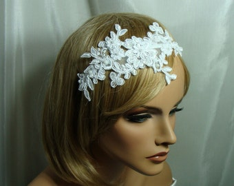 Wedding Lace Headband White Floral Lace Headband