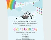 Itsy Bitsy Party Invite - First Birthday Invitation - Classic Nursery Rhyme - Rainbow Party Invite - Girls Birthday Invitations Playful