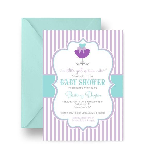 lilac mint baby shower invitations tutu cute princess printable or