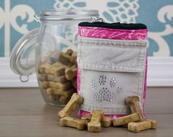 Upcycled Pink Paw Print Treat Pouch