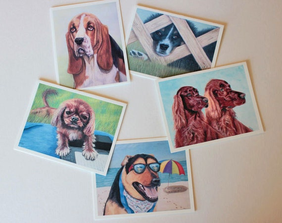 Set 1 Dog Art Fine Art, box of 10 w/envelopes, Blank Greeting Cards, note cards, pastel pet portraits, canine art, dogs, gift for dog lovers