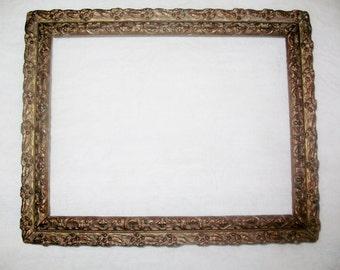 Antique Picture Frame Elaborate Gesso Design Original Condition No Glass or Hooks