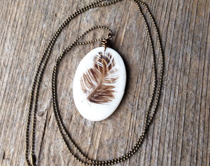 Long Real Feather Necklace Jewelry