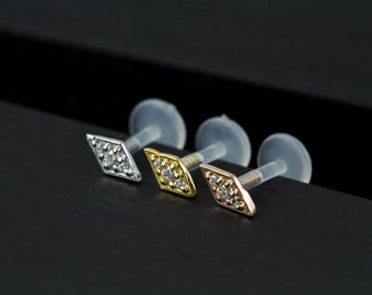 Three stone Rhombus push in 16gauge bio flexible Tragus / lip labret / cartilage/ helix / Monroe