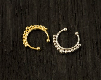 Sterling silver Fake Septum Ring, Gold plated Septum Ring,Clip On Septum (F1)