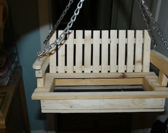 hand made bench bird feeder