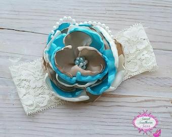 Country Chic (blue) Headband, Layered Fabric Headband, Lace Headband, Fancy Headband, Satin Flower Headband