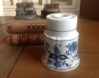 Vintage Porcelain Blue Danube® Candlestick Holder with Blue Onion Design, Japan