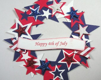 Patriotic Wreath Scrapbook Embellishment, Patriotic, 4th of July, Military, Cards, Verterans Day, Red White & Blue