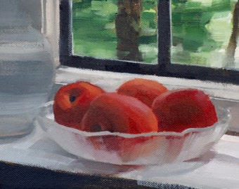 Apricots on Sill (no.120) Oil Painting Realism Fruit Bowl Nature Bright 2016