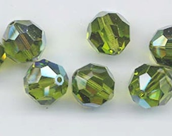 24 gorgeous Swarovski crystals - art 5000 - 6 mm - olivine AB