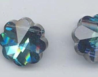 Eleven rare vintage Swarovski margarita crystals - Art. 5110 - 10 mm - effect color bermuda blue