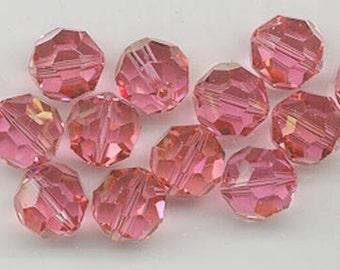 Twelve Swarovski crystals - Art. 5000 - 8 mm - rose champagne
