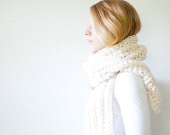 SUMMER SALE chunky extra long crochet scarf - fisherman - open ended - the OSLO