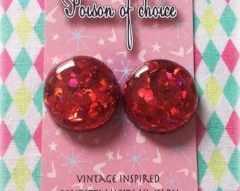 Red confetti earrings