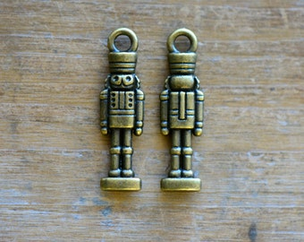 Nutcracker Charm -  Vintage Style Pendant - Antique Bronze - Christmas Nutcrackers Charms Jewelry Supplies (NO29)
