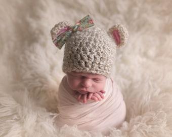 baby girl hat, bear hat, baby bear hat, newborn girl hat, crochet baby , bear