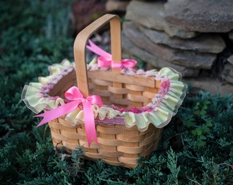 Flower Girl Storybook Basket:  Yellow Satin Ruffle