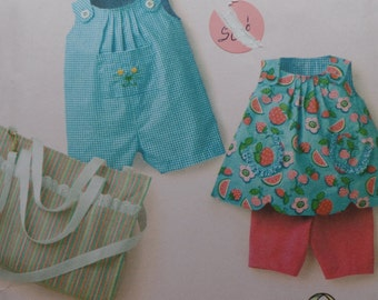 ToddlersClothing for boys and girls--Simplicity 3808, Baby Clothes Sewing Patterns, Romper, Bibs, Diaper Bag - 7 to 24 Pounds  UNCUT