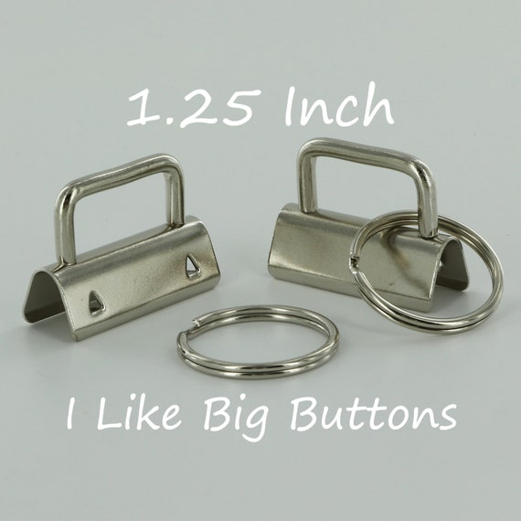 50 Sets - Silver - 1.25 INCH (32 mm) Key Fob Hardware with Split Rings Wristlet/Key Chains