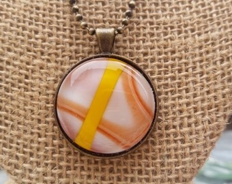 Orange and yellow fused glass pendant necklace
