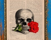 Skull Rose Romance Original Print on an Unframed Upcycled Bookpage