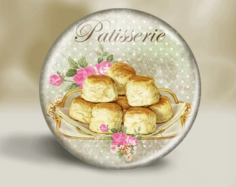Patisserie Pocket Mirror - Magnet - Pinback Button - Patisserie -Biscuits- Mother's Day - Grandma -Baking - Party Favor -Accessories