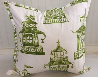 Green and Cream Oriental Pagoda Pillow Covers in Ming Pagoda Mineral