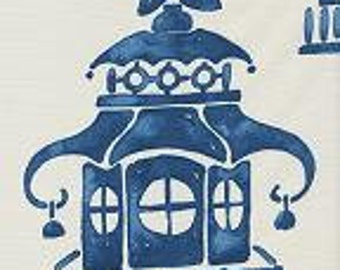 Blue and Cream Oriental Pagoda Pillow Covers in Ming Pagoda Zephyr