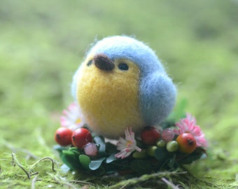 Blue bird doll ornament, needle felted blue bird on flower bed, mini spring flower garden table decor, bird on flower, gift under 20