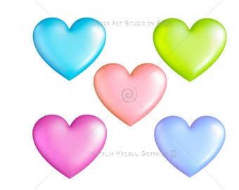 Pastel Hearts in 3D, value set of 5 colors, digital graphic, instant download, colorful clip art for scrapbooking and crafts