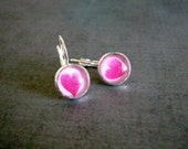 Cute Heart Earrings : Glass Photo Jewelry