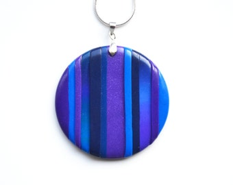 Blue and Purple Stripe Necklace, Polymer Clay