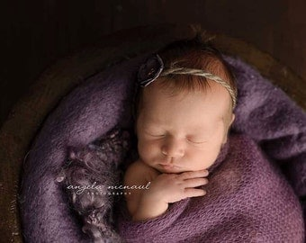 the Carmen in  Plum flower tie back with hand sewn beads for newborns to adults Photography Prop