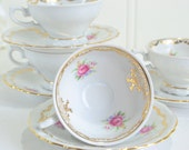 Small demitasse coffee cups , vintage mocha porcelain , roses and gold