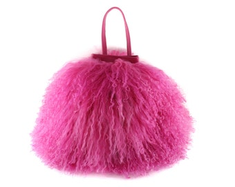 NEW! Cotton Candy Mongolian Fur & Leather Drawstring Mini | Fuchsia Pink Bag | Fur Bag | Tibetan | Handbag | Fur Purse |