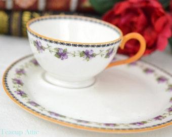 Royal Doulton Teacup Snack Set With Purple Violets, Royal Doulton Tennis Set, Vintage English Bone China Tea Cup, ca. 1970