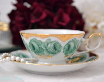 Shafford Teacup and Saucer Set With Roses, Fine Japanese Porcelain Tea Cup, Garden Tea Party, Replacement China,  ca. 1940-1970