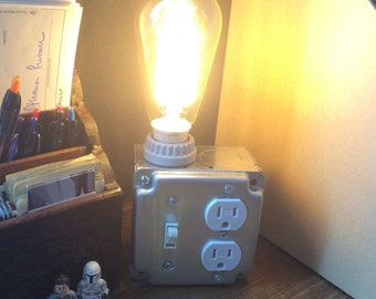Industrial Desk Lamp with Electrical Outlet