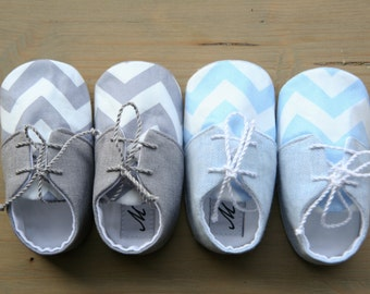 20% OFF Chevron baby shoes, gray baby shoes, light blue baby shoes, baby boy chevron booties, boy baptism shoes, bow tie