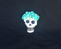 Aqua flower crown sugar skull magnet