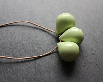 Handmade ceramic drop beads - green pendant necklace