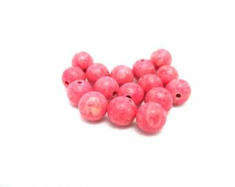 Pink Dyed Riverstone - 6mm Round - Loose Gemstone Beads - 16pcs - Pink Gemstone - Beads for Jewelry Making